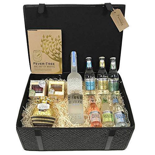 Photo of Premium Vodka Gift Hamper – Belvedere – in a beautiful Black Lined Wicker Hamper Box (L6T)