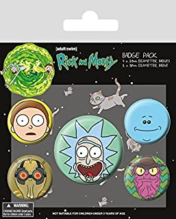 Cartoon Network Rick and Morty-Heads Badge Pack, Multi-Color, 10 x 12.5cm