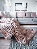 Chunky Knit Blanket. Throw Blanket. Merino Wool Blanket, Organic Certified. Arm Knit Blanket. Knitted Blanket from Chunky Yarn.