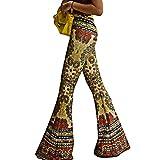 Inlefen Pantalón Flare con Estampado Vintage para Mujer Pantalones de Cintura Alta Pantalón con...