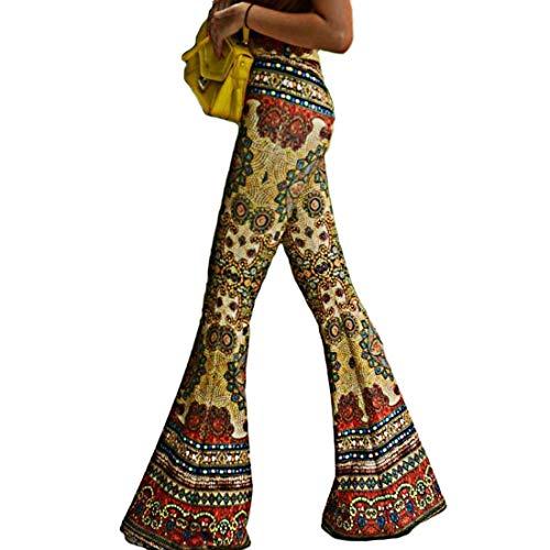 Aiweijia Pantalón Acampanado para Mujer Pantalón de Cintura Alta Pantalón con Estampado Floral Pantalón Casual Elegante Vestido de Noche Festivo Pantalón Pitillo