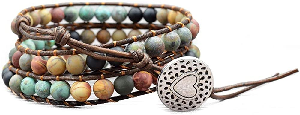 Izpack Fashion Love outlet Heart Max 75% OFF Beaded Leather Wrap Bracelets for 3 Wo