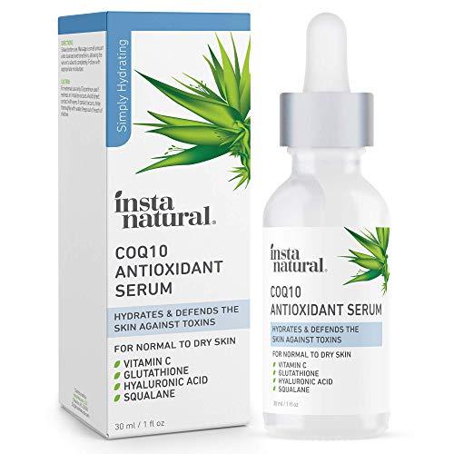 CoQ10 Antioxidant Face Serum - Anti Aging Natural Skin Care to Nourish Dry Skin Brightening Serum & Hydrating Treatment Skin Barrier Strengthening Facial Serum with Vitamin C & Hyaluronic Acid 1 oz