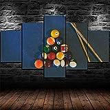 XHYUE Cuadro en Lienzo Impresión de 5 Piezas Material Tejido no Tejido Impresión Artística Imagen Gráfica Decoracion de Pared Juego de Taco de Bolas de Mesa de Billar de billar-39.5x21.7 Inch(WxH)