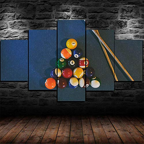 AWER 5 piezas de lienzo de arte de pared -Cuadro sobre Lienzo- Juego de bolas de la mesa de billares de billar Impresión en Lienzo- Listo para Colgar - en un Marco - Ancho: 150cm, Altura: 80cm