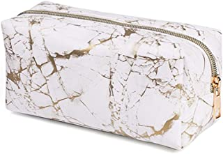 MHDGG Marble Makeup Bag,Cosmetic Bag Travel Toiletry Bag Pencil Storage Case Makeup Brush Bag with Gold Zipper Waterproof Travel Accessories for Women and Girls(7.5