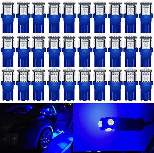 DEFVNSY 30X Azul 194 T10 168 2825 501 W5W Bombilla de luz LED de Repuesto para el Interior del Coche - Quinta generación 5050 5SMD para 24 V DC Placa de matrícula Mapa Lámpara de Luces de Techo