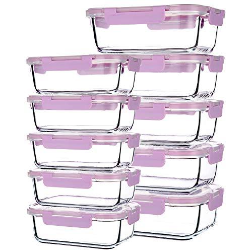 Recipientes de vidrio para almacenamiento de alimentos, juego de 10, cajas de preparación de comidas con tapas, recipientes de vidrio, sin BPA, morado