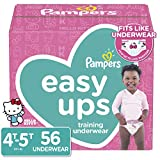 Pampers Easy Ups Pull On Disposable Training Diaper for Girls Size 6 (4T-5T), 56 Count, Super Pack
