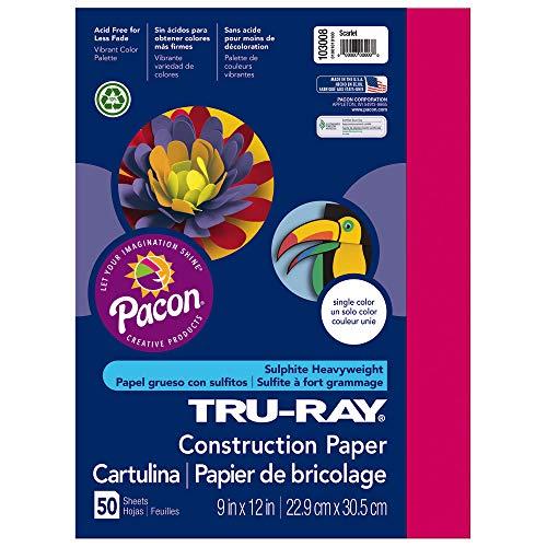 "Tru-Ray Heavyweight Construction Paper, Scarlet, 9"" x 12"", 50 Sheets"