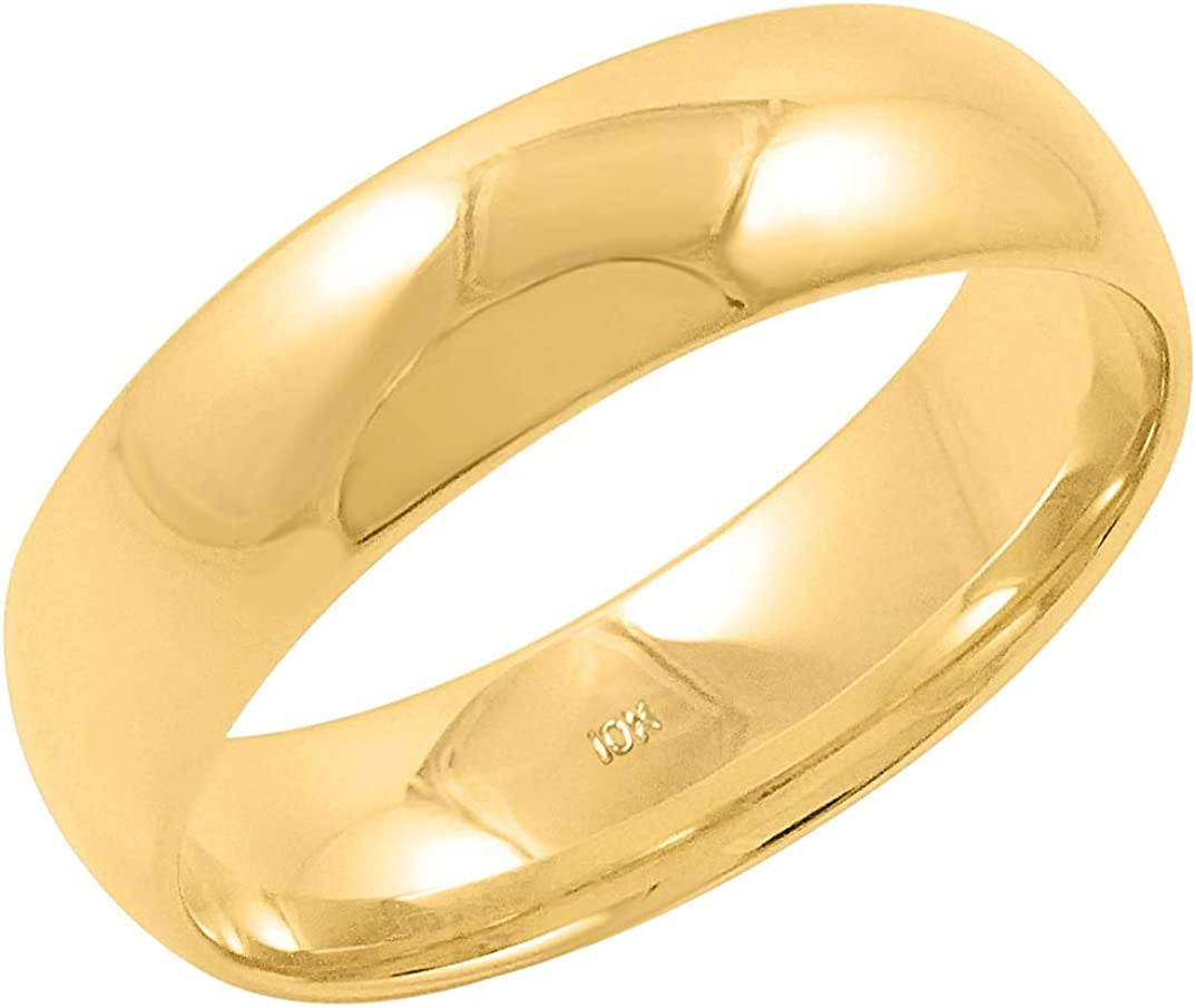 Men's 10K Yellow or White Gold 6mm Comfort Fit Plain Solid Wedding Band (Available Ring Sizes 8-12 1/2)
