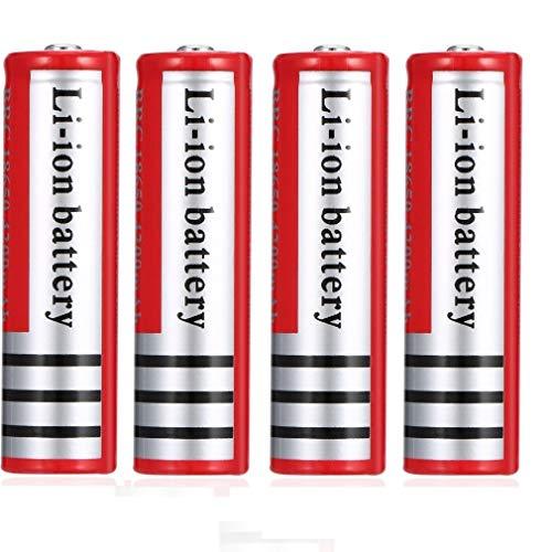18650 Batería Recargable de Iones de Litio 3.7V 4200mAh Baterías de Litio universales de Gran Capacidad para Linterna LED, iluminación de Emergencia, Dispositivos electrónicos, etc. 4 Piezas (Rojo)