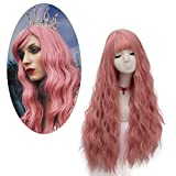 Fivefour Synthetische Perücke Damen, Synthetic Wig Perücke Lang Lockige Haare für Cosplay Anime Kostüm Party Halloween Alltag Rosa