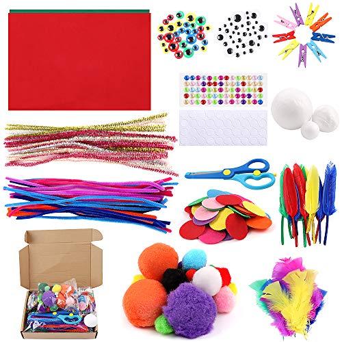 Suministros de manualidades para niños,kit de manualidades, suministros escolares para el hogar,juego de manualidades para niños pequeños,educativo hecho a mano,incluye limpiapipas