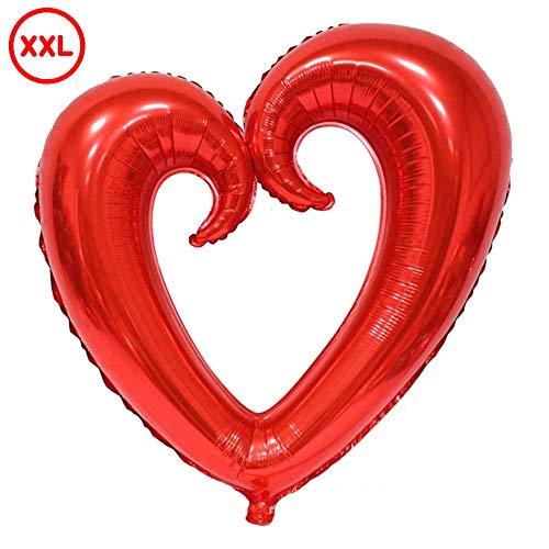 DIWULI, gigantischer XXL Herzballon Rot, Luftballon in Herzform hohl, edler Herz-Ballon groß, Herzluftballon, Herzfolienballon, Folien-Luftballon, Folien-Ballon für Geburtstag, Hochzeit, Dekoration