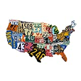 Metal USA Sign Dibond Aluminum USA License Plate Map (35' x 24') Sign Metal Sign Home Decor Wall Art Garage Art Great Gift UV Printed Rustic Sign Birthday Gift Patriotic Sign - Not Real License Plates