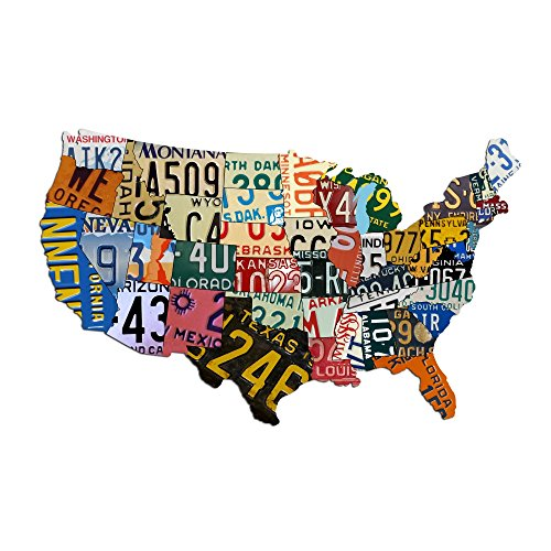 "Metal USA Sign Aluminum USA License Plate Map (35"" x 24"") Sign Metal Sign Home Decor Wall Art Garage Art Great Gift Plasma Cut Aluminum UV Printed Rustic Sign Birthday Gift Patriotic Sign Holiday Gift"