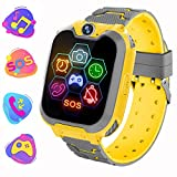 Reloj Inteligente para Niños de Pantalla Táctil con Juego de Música - Smartwatch para Niños Niña 3-12 Años (Tarjeta SD de 1GB incluida Relojes Inteligentes con Llamada SOS Cámara calculadora,Amarillo