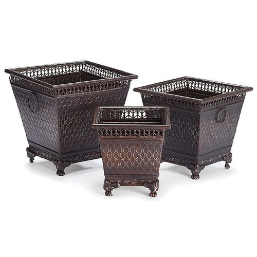Set of 3 Decorative Metal Planters with Diamond Design and Claw Feet Beautiful Home Decor