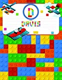 Davis: Primary Composition Notebook Story Paper Journal Gifts with Personalized Initial Name & Monogram for Kids (Boys) Dashed  Midline / Dotted and ... Exercise Book (Block / Brick Games Design)