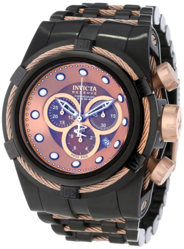 Invicta Men's 12732 Bolt Reserve Chronograph Brown Mother-Of-Pearl Dial Black Ion-Plated Stainless Steel Watch