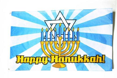 AZ FLAG Happy Hanukkah Blue Sky Flag 3' x 5' - Betar - Jewish Flags 90 x 150 cm - Banner 3x5 ft