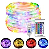 LED Rope Lights, 33ft RGB Outdoor Color Changing String Lights with 100 LEDs, 4 Modes 16 Colors USB Powered Rope Tube Light with Remote, Waterproof, for Christmas Party Indoor Outdoor Decor