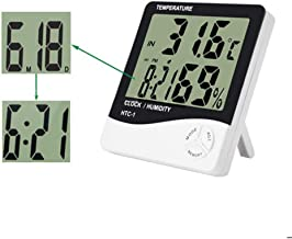 Unity Brand™ Room Thermometer with Humidity Incubator Meter and Accurate Temperature Indicator Wall Mounting LED Digital Clock Monitor for Indoor/Outdoor (White)