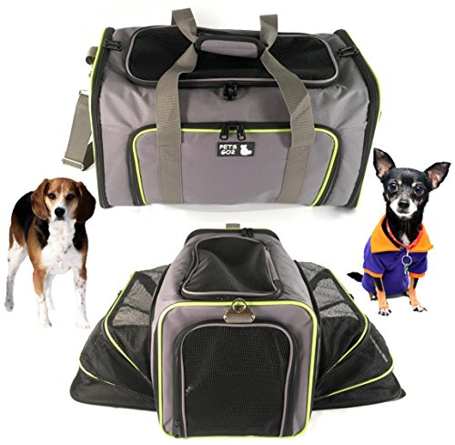 PETS GO2 Pet Carrier for Dogs & Cats - Airline Approved Premium Expandable Soft Animal Carriers - Portable Soft-Sided Air Travel Bag - Best for Small or Medium Dog and Cat (Grey)