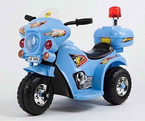 Toyas Kindermotorrad Elektromotorrad Kinderfahrzeug Dreirad Kinder Polizei Motorrad in Blau