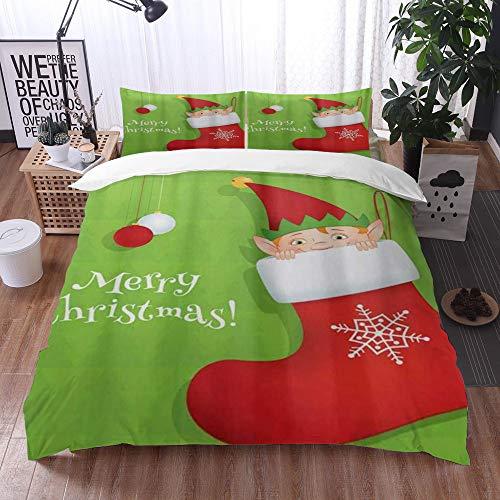 Juego de Fundas de edredón,Feliz Navidad calcetín Duende en Invierno muñeco de Nieve Copo de Nieve,Fundas Edredón 200 x 200 cmcon 1 Funda de Almohada 40x75cm