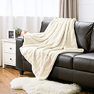 Bedsure Faux Fur Throw Blanket PV Fleece Bed Throws 50 x60  Snow WhiteSuper Soft & Warm, Reversible with Flannel, Shaggy Fuzzy Fur Jacquard Rabbit Bed Blankets by