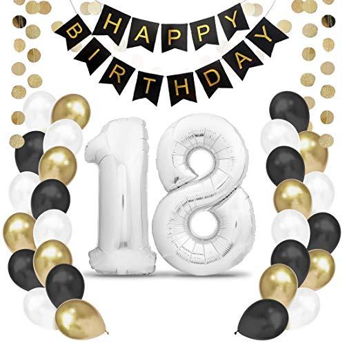 Geburtstagsdeko 18 Silber Geburtstag Deko I 18. Geburtstag Männer Frauen I Party Deko I Luftballons 18 Geburtstag I Happy Birthday Girlande Ballons I Birthday Decorations I Geburtstag Mann Frau