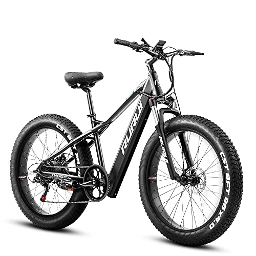 eAhora RURUI 750W 4.0' Fat Tire Mountain Electric Bike 48V Urban Electric Bikes for Adults with 14AH Removable Ebike Battery, Dual Disc Brakes, Front Suspension, 7-Speed Gears