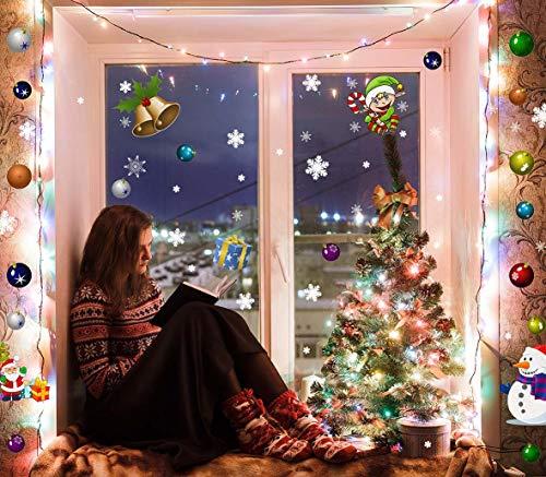 MEGAPACK más de 100 Vinilos individuales reposicionable fácil aplicación DOBLE VISION | Pegatinas navidad ventanas | Adornos Navidad, navideños, estrellas, elfo, muñeco nieve, bolas, campanas, regalos