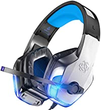 BENGOO V-4 Gaming Headset for Xbox One, PS4, PC, Controller, Noise Cancelling Over Ear Headphones with Mic, LED Light Bass Surround Soft Memory Earmuffs for PS2 Mac Nintendo 64 PS5 Games