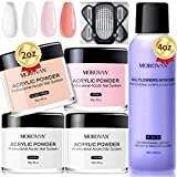 Morovan Acrylic Nail Kit 2oz Acrylic Powder Monomer Liquid Set 4 Colors Acrylic Powders Professional EMA Monomer 4oz Acrylic Supplies for Nail Extension Carving - with Clear Pink White Nude Colors