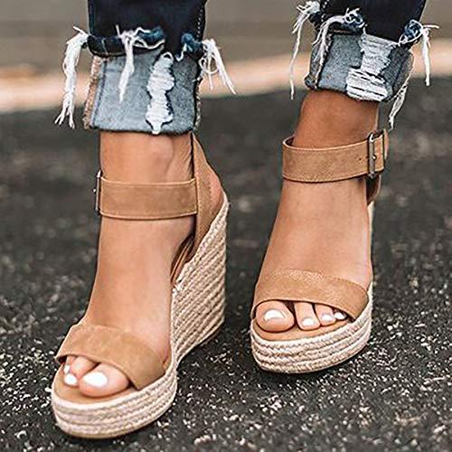 XXZ Damen Plateau Sandalen Keilsandaletten Sommer Elegante Sandaletten Bequeme Schöne Schuhe,Braun,38