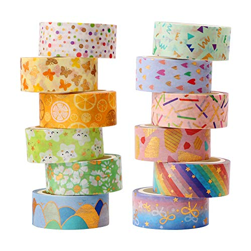 Washi Tape,12 Rollen Washi Klebeband Set Dekoratives Washi-Tape Niedliche Goldfolie Blume Dekorative Masking Tape Scrapbooking Tape für DIY Art & Crafts und Geschenkverpackung Decoration,15mm x 3M