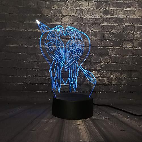 Nachtlichter 3D Kuss Vogelhaus Dekoration Led Nachtlicht Schreibtisch Tisch Lava Lampara Rgb 7 Farbwechsel Junge Kind Spielzeug Usb Basis Schalter Kreativ