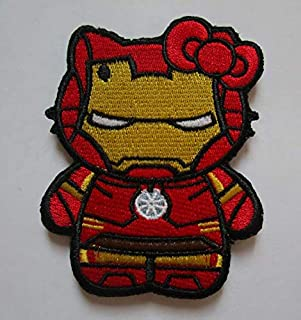 Hello Kitty AS Iron Man Military Patch Fabric Embroidered Badges Patch Tactical Stickers for Clothes with Hook & Loop