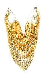 Gold Sequin Metal Mesh V Shape Cut Top