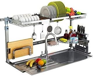 Dish Drying Rack, Kitchen Sink Rack Draining Board Cutting Board Rack Fruit and Vegetable Basket Tripod Hook Knife Rack Stainless Steel