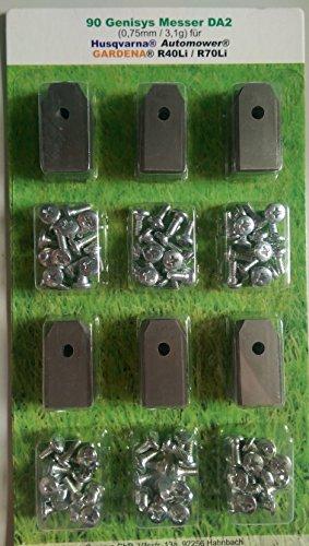 genisys ***90 Messer (0,75mm) & Schrauben für Husqvarna Automower & Gardena R40Li/R70Li in praktischer Aufbewahrungsbox