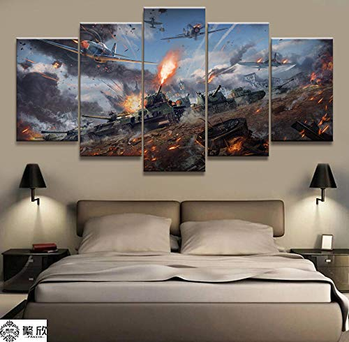 ADGUH Leinwanddrucke5 Stück Militärkrieg World of Warships Panzer Welt Malerei Spiel Poster Dekorative Wandbild Wanddekor Leinwand Malerei 5 Drucke auf Leinwand