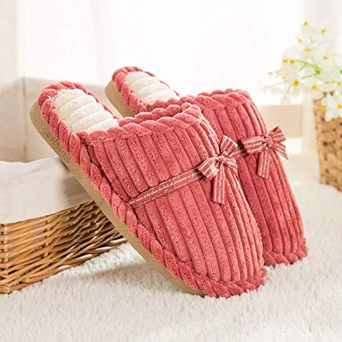SWX-FlipFlop Zapatillas de algodón de Invierno Zapatillas de algodón de Invierno Zapatillas de Mujer Embarazada casa hogar cálido Pareja Gruesa Rosa 38/39