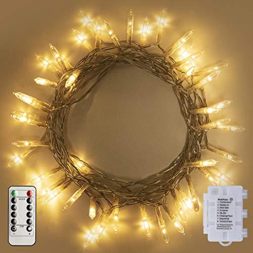 LED Lichterkette,2Stk 50LED Lichterketten,Dimmbar LED String Licht mit Timer & Fernsteuerung,8 Modi Wasserdicht Lichterkettenvorhang,Weihnachtsbeleuchtung,Weihnachtsdeko Christmas INNEN und AUSSEN