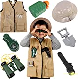Liberty Imports Junior Backyard Safari Explorer Kids Role Play Set - Washable Cargo Vest and Outdoor Adventure Camping Gear Costume Kit and Accessories