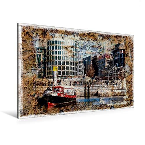 Calvendo Premium Textil-Leinwand 120 cm x 80 cm quer, EIN Motiv aus dem Kalender Hamburg on The Wall | Wandbild, Bild auf Keilrahmen, Fertigbild auf echter Treppen in der Hafencity Orte Orte