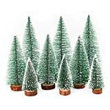 Herefun Mini Árbol de Navidad, 9Pcs Árbol de Navidad Artificial, Mini Navidad Verde Árbol Artificial Abeto, Árbol De Nieve, Ideal para Navidad Decoración Micro Paisaje
